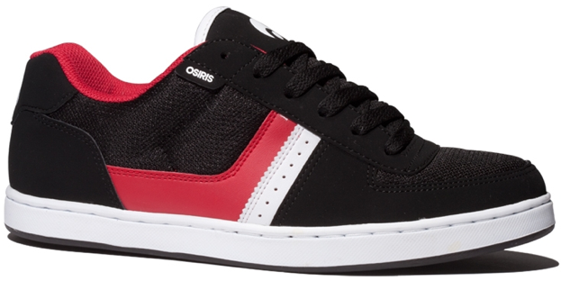 Vegan Skateboard shoe from Osiris in Black Red and White