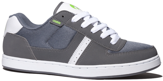 Vegan Osiris Relic Skate shoe in Charcoal Lime White