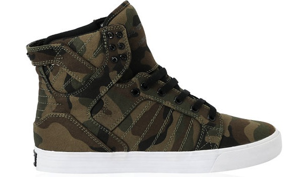Vegan Supra Skytop Camo skateboard shoes