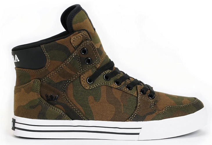 Supra Vaider Camo Canvas Vegan Skateboard shoes