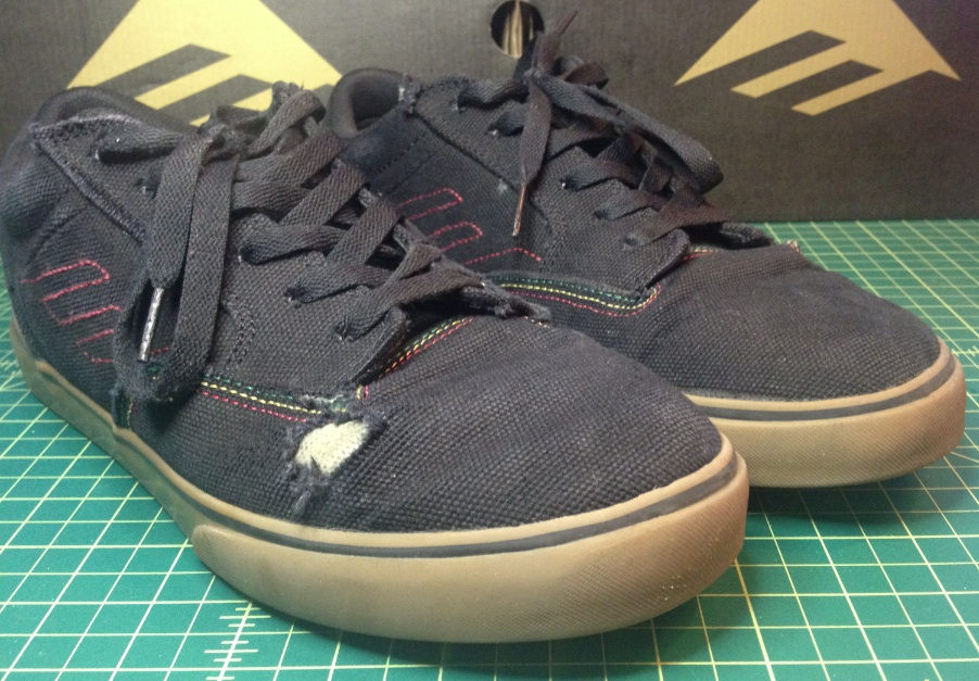 Emerica Vegan Skateboard Shoes Jinx Black Rasta 20oz Canvas