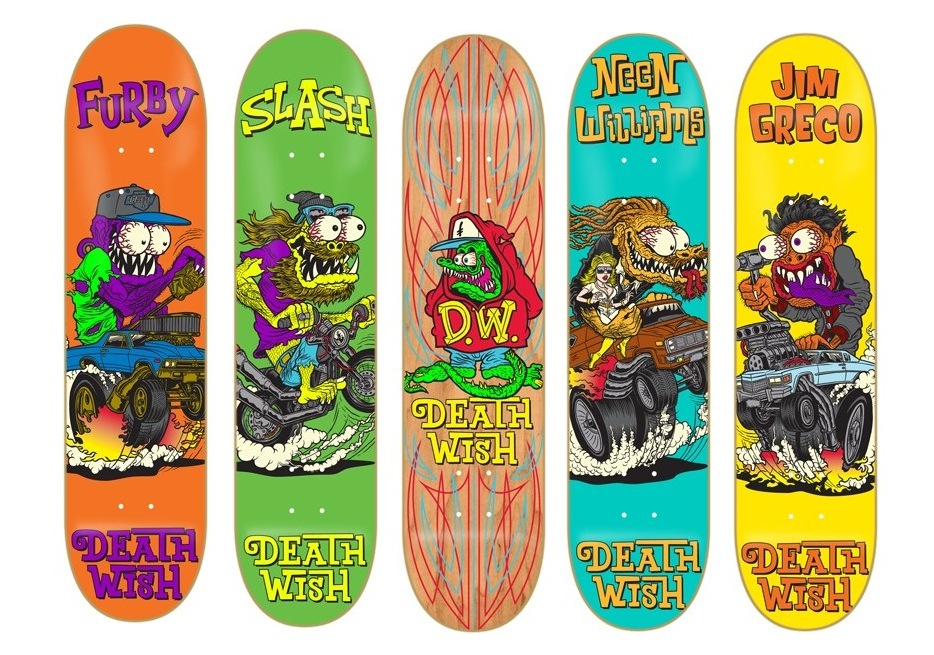 "Deathwish Creeps II skateboard decks inspired by Ed ""Big Daddy"" Roth monsters, rat fink"