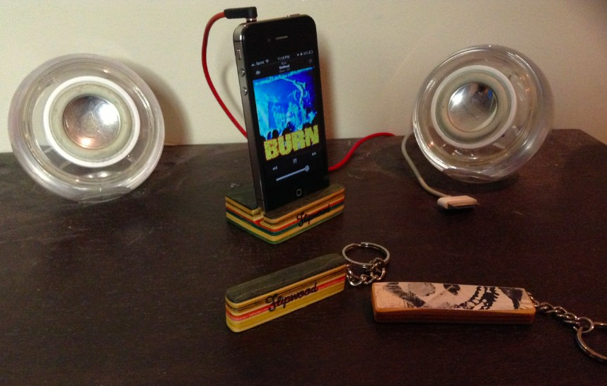 Flipwood Upcycled Skateboards iphone stand iphone dock